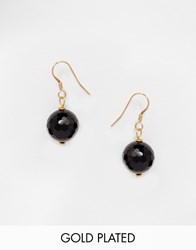 Mirabelle Faceted Onyx Gold Plated Drop Earrings Onyx