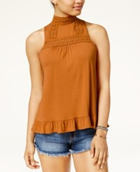 American Rag Juniors' Crochet Trim Ruffled Hem Tank Top Only At Macy's Cathay Spice