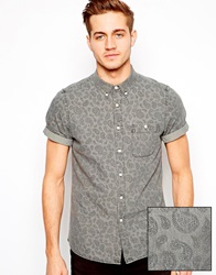 Asos Shirt In Short Sleeve With All Over Paisley Print Black