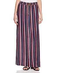 Splendid Striped Maxi Skirt Fiery Red Navy