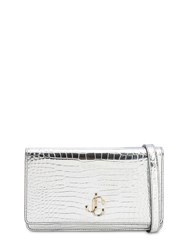 Jimmy Choo Palace Croc Embossed Leather Wallet Bag Silver