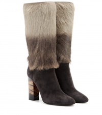 Burberry Jazmine Calf Hair And Suede Boots Grey