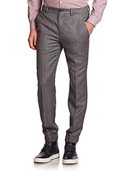 Melindagloss Flat Front Italian Virgin Wool And Cashmere Pants Grey