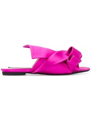 N 21 No21 Knotted Open Toe Sandals Women Leather Satin Ribbon Rubber 37 Pink Purple