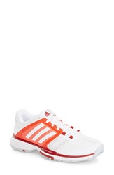 Adidas 'Adipower Barricade Team 4' Tennis Shoe Women White Solar Red
