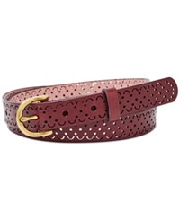 Fossil Scallop Perforated Leather Belt Wine