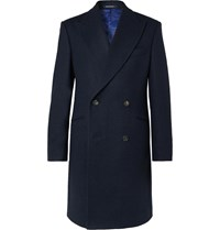 Richard James Double Breasted Wool Overcoat Blue