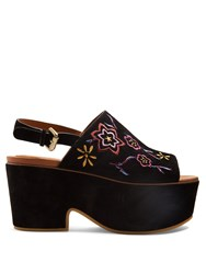 See By Chloe Floral Embroidered Suede Platform Sandals Black Multi