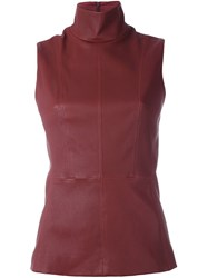 Thierry Mugler Leather Funnel Neck Top Red