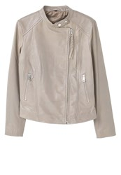 Mango Nico Leather Jacket Grey