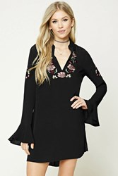 Forever 21 Embroidered Peasant Dress Black Pink