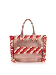 Whistles Woven Fringed Tote Orange Red Multi