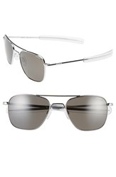Women's Randolph Engineering 55Mm Polarized Aviator Sunglasses Bright Chrome Grey Polar