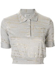 Bambah Marble Cropped Polo Top Grey