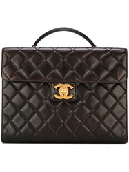Chanel Vintage Quilted Briefcase Brown