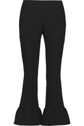 Elizabeth And James Cleo Cropped Stretch Crepe Flared Pants Black