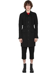 Rick Owens Lined Single Breast Cotton Trench Coat Black