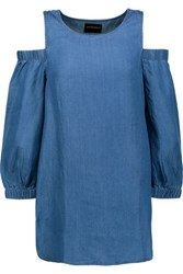 W118 By Walter Baker Courtney Cutout Chambray Top Blue