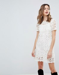 Deby Debo Guipure Lace Shift Dress Off White