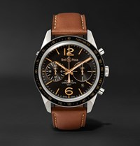 Bell And Ross Br 126 Sport Heritage Gmt Flyback Chronograph Steel Leather Watch Tan