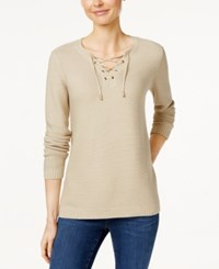 Charter Club Lace Up Split Neck Sweater Only At Macy's Sedona Dust