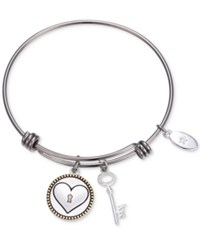 Unwritten Keep Me In Your Heart Charm Adjustable Bangle Bracelet In Stainless Steel Two Tone