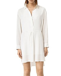 Allsaints Alex Silk Shirt Dress Chalk White