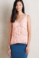 Anthropologie Tiered Fringe Shell Pink