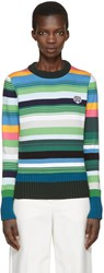 Kenzo Green Striped Tiger Crest Pullover
