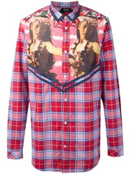 N 21 No21 Printed Panel Plaid Shirt Red