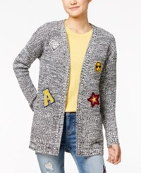 Hippie Rose Juniors' Patched Marled Open Front Cardigan Black Ivory