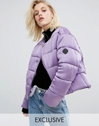 Puffa Oversized Collarless Padded Jacket Luxe Satin Mauve Purple