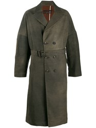 Ziggy Chen Distressed Effect Trench Coat Brown
