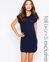 New Look Tall T Shirt Dress With Zip Pocket Detail Navy