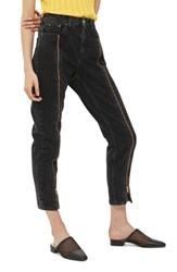 Topshop Women's Zip Mom Jeans Washed Black