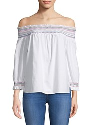 Saks Fifth Avenue Red Rosemary Off The Shoulder Cotton Top White