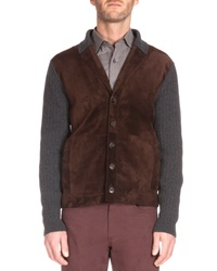 Berluti Ribbed Cardigan With Suede Front Charcoal