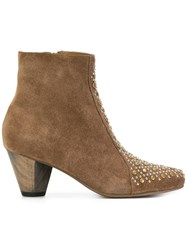 Calleen Cordero Stud Detail Heeled Ankle Boots Leather Suede 6.5 Brown