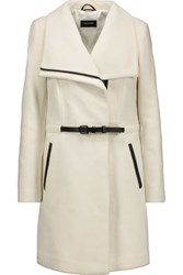 Mackage Leather Trimmed Wool Blend Coat Off White