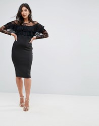 Ax Paris Long Sleeve Overlay Midi Dress With Lace Detail Black
