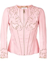 Versace Collection Baroque Stencil Cut Leather Jacket Pink