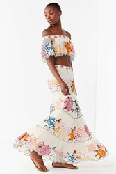 Urban Outfitters Uo Embroidered Maxi Skirt Multi
