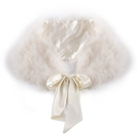 Chesca Feather Maribou Shawl Ivory