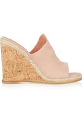 Sigerson Morrison Vala Suede Wedge Sandals Nude