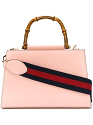 Gucci Nymphaea Gg Web Tote Bag Women Cotton Leather One Size Pink Purple