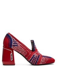 Prada Block Heel Logo Jacquard Loafers Red