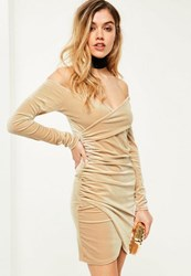 Missguided Nude Bardot Wrap Long Sleeve Velvet Dress