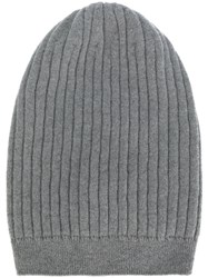 Fabiana Filippi Ribbed Beanie Women Cashmere One Size Grey