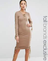 True Decadence Tall Lace Up Plunge Bodycon Pencil Dress Taupe Pink