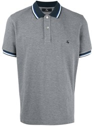 Fay Embroidered Logo Polo Shirt Grey